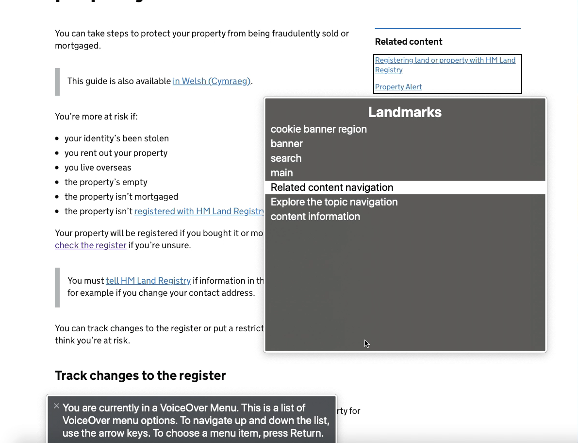 The Landmarks panel of the macOS VoiceOver Web Rotor, with the 'Related content navigation' item highlighted. The Related content navigation menu itself is highlighted on the page with a black border.