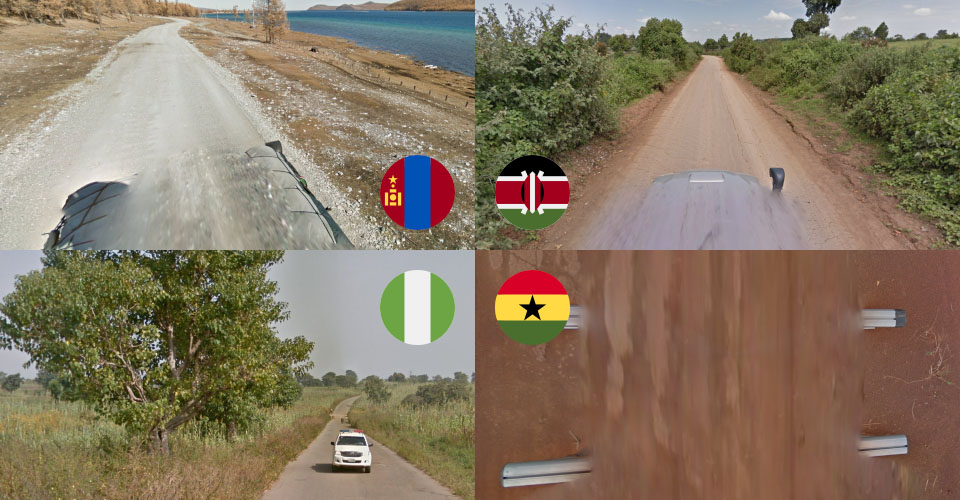 4 images taken from GeoGuessr