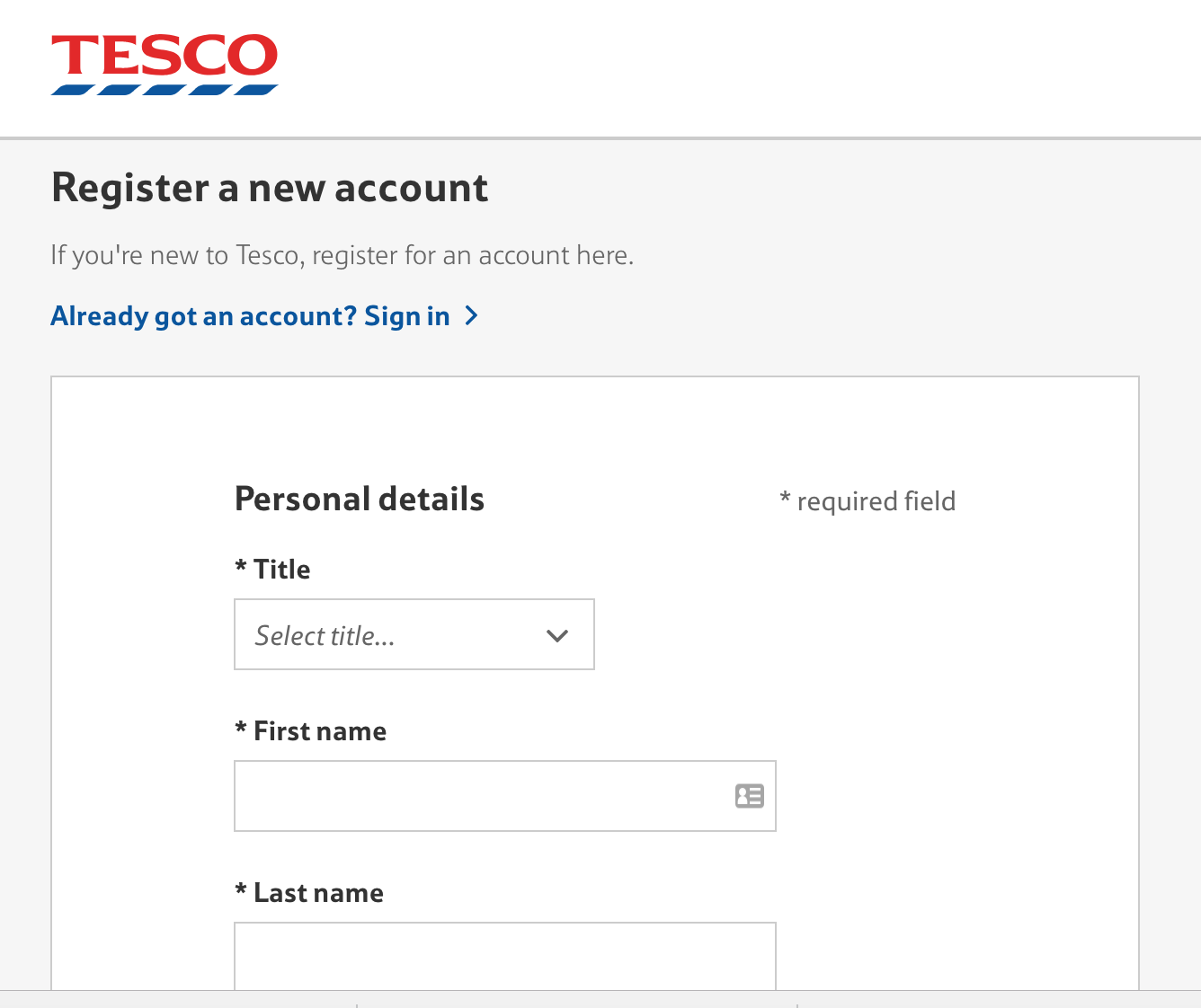 Screengrab from Tesco site showing compulsory account set-up