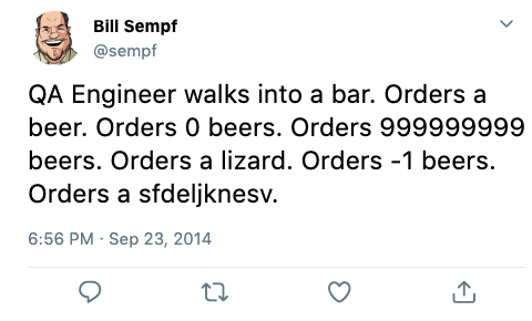 Tweet joke about QA engineer