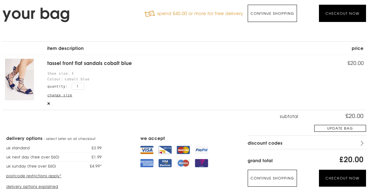 Screengrab of an ecommerce basket